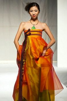 Modern hanbok - chima of layered orange, gold and green organza with 2 parallel maroon ties