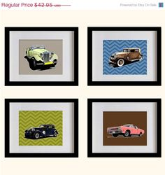 ON SALE Vintage Cars Nursery Art Print  by MadeForYouPrints, $37.95