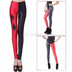 Sexy Women's Stretch Harley Quinn Skinny Leggings Tight Pencil Pants Trousers