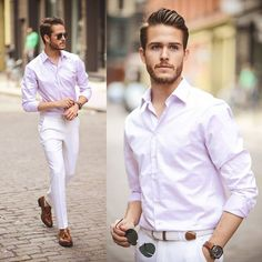light pink shirt shades loafers man in pink
