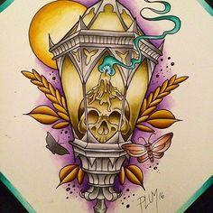 their amazing skull candle lantern tattoo design