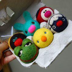Tiny WOOLY Frühjahr Tiere in Eierkarton Made to von asherjasper, $75.00