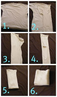 How to Fold Tees Without a Board: 1.Lay it front side down 2. Fold over at one edge of the neck 3. Fold over at the other edge of the neck  4. Take any over hang and fold it back so that you have a rectangle the width of the collar 5. Fold bottom half up 6.Fold in half again 7. (not shown) The shirt will now easily stand up in a drawer, allowing you to line them up in space efficient rows while still being able to see and access all of them! [I still prefer board-folding. Looks…