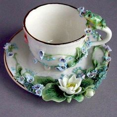 Comments in Topic Tea Cup Saucer, Tea Cups, Teapots And Cups, Chocolate Pots, Vintage Tea, Clay Art, Ceramic Art, Tea Time, Tea Party