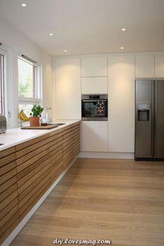 White wall - All About Balcony Modern Kitchen Cabinets, New Kitchen, Kitchen White, Home Decor Furniture, Home Furnishings, Trendy Home, Küchen Design, Modern Interior Design, White Walls
