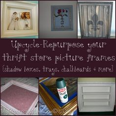 My Repurposed Life™: DIY- + Upcycled Repurposed Picture Frame Projects ! (shadow boxes, trays, shelves,chalkboards + so much more ! Frame Crafts, Wood Crafts, Diy Crafts, Picture Frame Projects, Picture Frames, Furniture Projects, Kid Furniture, Furniture Design, Crafty Craft