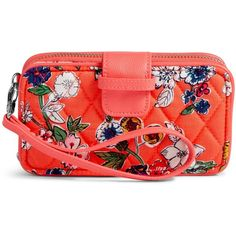 Vera Bradley RFID Smartphone Wristlet ($54) ❤ liked on Polyvore featuring accessories, tech accessories, coral floral, zip wristlet, smartphone wristlet, wristlet smartphone, iphone smartphone and vera bradley
