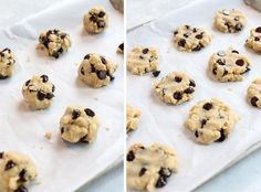 These Paleo Chocolate Chip Cookies are naturally gluten-free and egg-free, made with almond flour, coconut oil, and maple syrup. They remind me of shortbread, with chocolate chips! #paleo, #vegan, #eggfree, #glutenfree Healthy Treats, Healthy Desserts, Healthy Dinner Recipes, Dessert Recipes, Paleo Meals, Paleo Chocolate Chip Cookies, Dark Chocolate Chips, Paleo Cookies, Egg Free