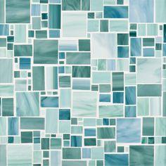 Ann Sacks Chrysalis Large Lique Gl Mosaic In Ocean Breeze Light Aqua And Green Mint