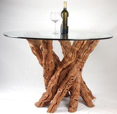 Old Vine Grapevine Dining Table - rustic - Dining Tables - Wine Country Craftsman Dining Nook, Round Dining Table, Dining Room Table, Log Table, Trunk Table, Deck Table, Cool Furniture, Furniture Design, Cool Tables