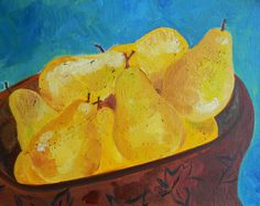 This is an original oil painting of a bowl of yellow pears with a teal background on canvas. Contemporary art work. Yellows, browns and blues