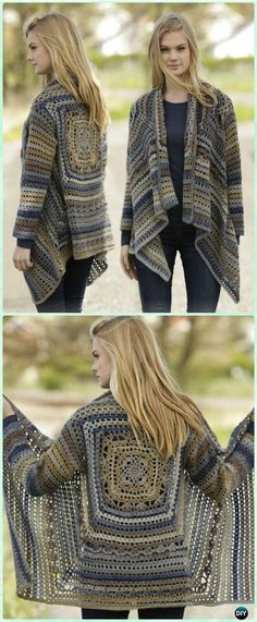 Crochet Autumn Delight Square Jacket Free Pattern - Crochet Granny Square Jacket Coat Free Patterns