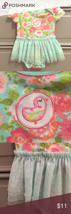 👭floral onesie with tulle skirt Sweet little embroidered bird. Snaps in stride. One Pieces