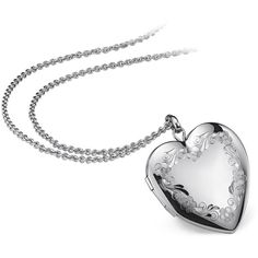 Blue Nile Floral Engraved Heart Locket in Sterling Silver ($95) found on Polyvore