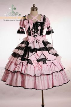 sweet lolita pink and black dress