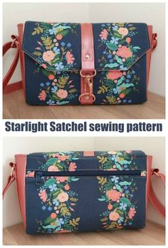 Starlight Satchel sewing pattern. Here's a pretty everyday purse or shoulder bag sewing pattern with all the pockets you need to keep you organised. This lovely bag gives you the option to add vinyl accents. Purse sewing pattern for shoulder bag. Messenger style shoulder bag sewing pattern. #SewModernBags #SewASatchel #SatchelSewingPattern #SewAPurse #PurseSewingPattern