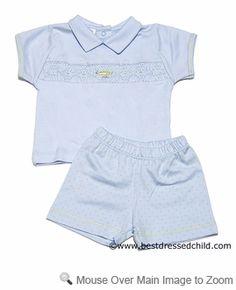 Magnolia Baby Infant Boys Light Blue Avery Classic Smocked Alligator Collared Shorts Set