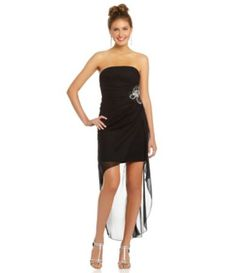 df92754910a2a ... winter formal  Teeze Me Strapless Beaded Hi-Low Dress