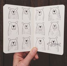 Art Sketches Easy - Too cute to bear Bear Illustration, Graphic Design Illustration, Drawing Sketches, Drawings, Bear Art, Grafik Design, Doodle Art, Character Design, Doodles