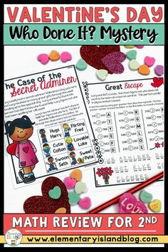 """Valentine's Day Math Mystery Crack the Code is perfect for first, second, & third grade math centers & homeschool classrooms. This no-prep, engaging lesson will keep students focused with clues to help solve the mystery of """"Who Done It?"""" while addressing math skills like place value blocks, 3-digit addition with regrouping, skip counting, & more. Available in color and black & white, this ready to go activity just needs printed for a fun activity that 1st, 2nd, & 3rd graders love. #ValentinesDay Hands On Activities, Math Activities, Elementary Education Activities, Third Grade Math, Second Grade, Island Holidays, Math Problem Solving, Skip Counting, Teaching Strategies"""