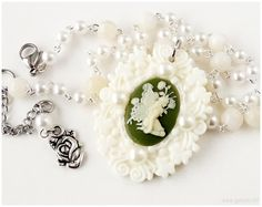 Fairy Necklace Cameo Pendant Beaded Rosary Chain Off by gatumi