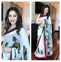 madhuri dixit linen printed saree, linen multi-colored saree, linen saree with blouse, printed linen, linen floral printed saree Bollywood Saree, Bollywood Fashion, Saree Fashion, Bollywood Actors, Fashion Dresses, Velvet Saree, Modern Saree, Cotton Sarees Online, White Saree