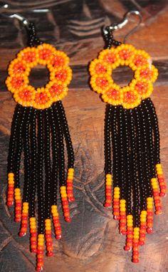 Huichol Peyote Beaded Earrings KKK-7 by HuicholArte on Etsy