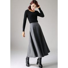 Classical a-Line Skirt Simple Plain Long Flared Dark Gray Wool Skirt... ($69) ❤ liked on Polyvore