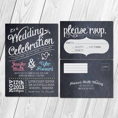 Vintage Chalkboard Wedding Invitation & RSVP Postcard Set with Printable DIY Option