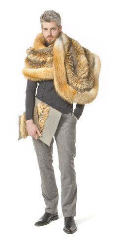 "From my ""Big Red"" collection of men's red & grey fox fur pieces"