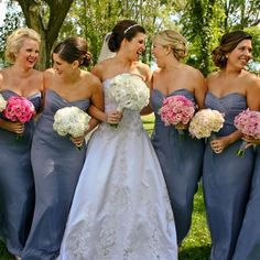 Charcoal gray bridesmaids dresses and pink peonies bouquets ...