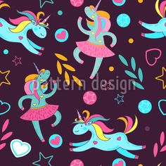 Dancing Unicorns Repeat Pattern Repeat Pattern by Elena Alimpieva at patterndesigns.com