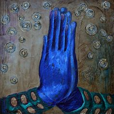 Lalitha Devi by Amy Tanathorn. 16x16 acrylic on gallery canvas. Dark blue namaste hands. Lalitha Devi means Divine Mother. You will see a Balinese style Om symbol on lower right. AmyTanathorn.com