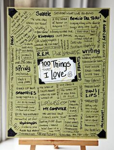 100 Things that I love Writing Prompt