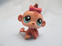 Littlest Pet Shop Pink Bow Baby Girl Monkey 1422 Brown Blue Eyes 100% Authentic