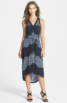 Adrianna Papell Belted V-Neck High/Low Dress | Nordstrom