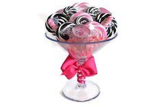 Large Pink/Black Martini Glass Lollipop by EdibleWeddings on Etsy, $49.99