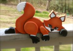 Sleepy baby fox wood craft shelf sitter by WOODLANDCRITTERS on Etsy