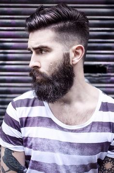 Undercut With Beard Haircut For Men - 40 Manly Hairstyles Undercut With Beard, Beard Haircut, Undercut Men, Short Haircut, Best Undercut Hairstyles, Undercut Styles, Mens Undercut Hairstyle, Men's Hairstyle, Trendy Haircuts