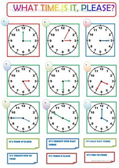 what time is it, please? worksheet - Free ESL printable worksheets made by teachers English Time, English Fun, English Lessons, Teaching Time, Teaching Jobs, Teaching Activities, English Teaching Materials, Teaching English, English Primary School