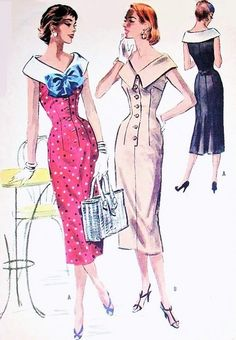 1950s Slim Day or After 5 Dress Pattern McCalls 3646 Face Framing Wide Neckline Slim Front Bust 30 Vintage Sewing Pattern