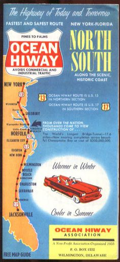 Undated Travel Vacation Brochure Ocean Hiway Pines to Palms North South NY to FL Usa Road Map, Road Maps, Florida Georgia, Florida Usa, Vintage Maps, Vintage Travel Posters, Vacation Trips, Vacation Ideas, Tourist Map