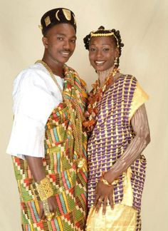 Bride and Groom in Ivory Coast in their traditional wedding attires