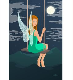 Irish Mythological Faerie on a swing - traditional drawing digital colouring Faeries, Mythology, Irish, Character Design, Illustrations, Drawings, Color, Fairies, Colour