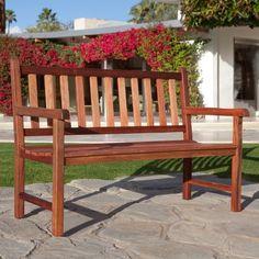4-Foot Outdoor Wood Patio Garden Bench with Armrest