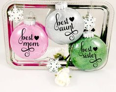 mom ornament glitter ornaments sister ornament by Khinspirations