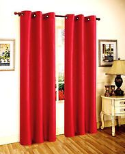 2 PANEL BRIGHT RED FOAM LINED BLACKOUT WINDOW CURTAIN BRONZE GROMMETS.  MY NEW CURTAINS FOR SLIDING GLASS DOOR AND 7 WINDOWS