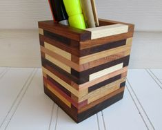 Pencil Holder Desk Organizer Wood Box Paint brush by TanteandOom
