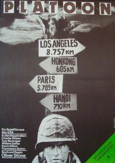 Very cool original poster, featuring design from Gerhart Brandt, for the East German release of Platoon. Tom Berenger, Oliver Stone, Charlie Sheen, Hanoi, Vintage Movies, Vintage Posters, Platoon Movie, Hannah And Her Sisters, Gorillas In The Mist