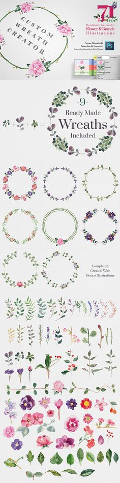 Discover thousands of images about Wreaths, Laurels & Borders by kite-kit on Creative Market Logo Design, Graphic Design, Planner, Watercolor Flowers, Diy And Crafts, How To Draw Hands, Doodles, Bullet Journal, Clip Art